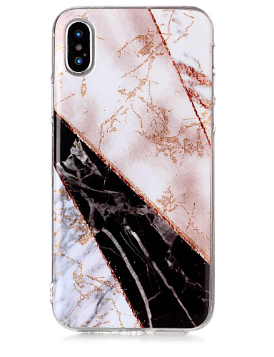 Etui Til Apple iPhone X / iPhone 8 Plus / iPhone 8 IMD / Mønster / Glitter Bakdeksel Glimtende Glitter / Marmor Myk TPU