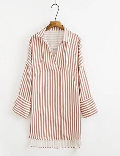 billige Dametopper-Skjortekrage Skjorte Dame Gatemote Kakifarget