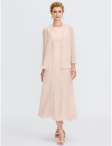 cheap Clearance-Sheath / Column Mother of the Bride Dress Elegant Two Piece Jewel Neck Tea Length Chiffon Sleeveless with Sash / Ribbon Pleats Beading 2020