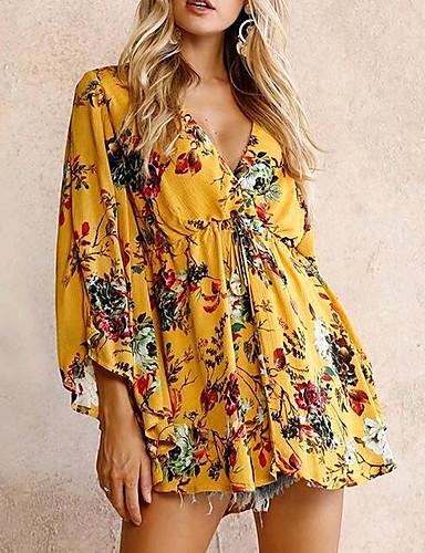 91c36a6305e7 Women s Daily Basic Mini Slim Sheath Dress - Floral Print Deep V Summer  Cotton Yellow S M L   Sexy 6600540 2019 –  17.99