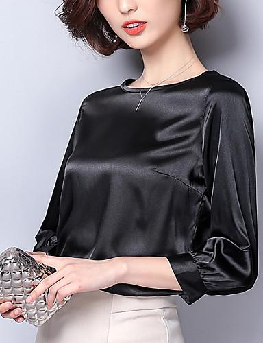 billige Dametopper-T-skjorte Dame - Ensfarget Grunnleggende Dusty Rose Rosa / Silke