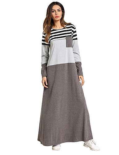 voordelige Maxi-jurken-Dames Standaard Boho A-lijn Ruimvallend Jurk - Gestreept Maxi