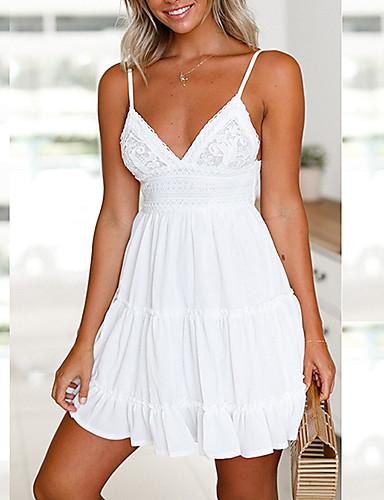 preiswerte Alles für den Sommerurlaub-Damen Festtage A-Linie Kleid - Rückenfrei Schleife, Solide Mini Gurt Weiß Staubige Rose