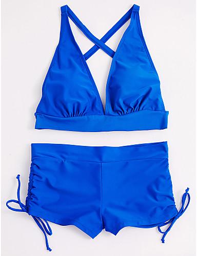 billige Dametopper-Dame Solid Blå Hvit Svart Badeshorts Bikini Badetøy - Ensfarget Klassisk Stil Sexy M L XL Blå
