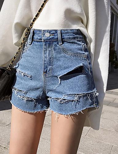 4ca580e77b Ancho Corte 2019 Agujero Simple Mujer Borla Shorts Color 6593878 Pantalones  Un Vaqueros Algodón qARTnwT4xt
