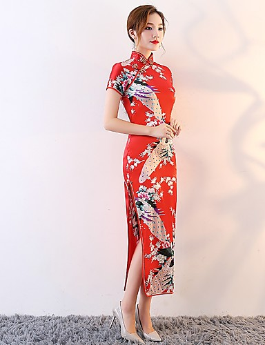 cheap Ethnic & Cultural Costumes-Bride Women's Chinese Style Chinese Red Cheongsam Dress Pencil Dress A-Line Dress For Engagement Party Bridal Shower Cotton Floral / Botanical