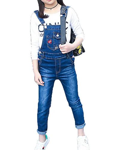 preiswerte Ausverkauf-Kinder Mädchen Einfach Freizeit Alltag Sport Solide Blumen Zeichentrickfilm Print Druck Langarm Baumwolle Kleidungs Set Blau