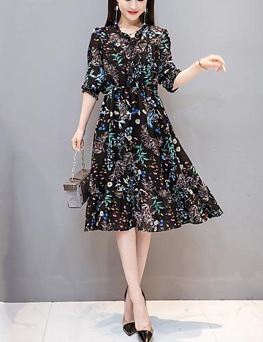 92450a3143730 Kadın's Dışarı Çıkma Sokak Şıklığı İnce Şifon Elbise - Çiçekli, Fırfırlı /  Desen Diz-boyu 6568444 2019 – $27.71