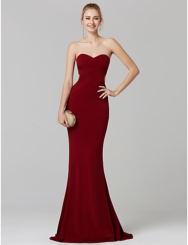 d5c12fdfe42 Mermaid   Trumpet Sweetheart Neckline Sweep   Brush Train Jersey Open Back  Cocktail Party   Prom   Formal Evening Dress with Pleats by TS Couture®  6553494 ...