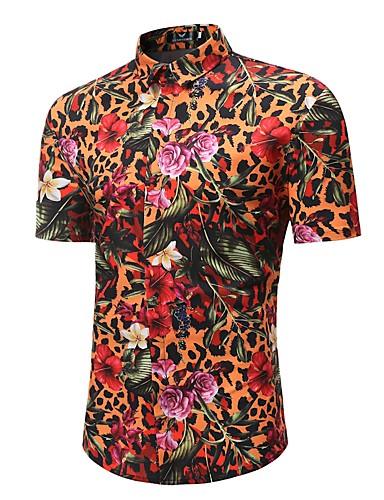levne Pánské košile-Pánské - Květinový / Leopard Plážové Cikánský / Čínské vzory Větší velikosti Košile, Tisk Bavlna Oranžová / Krátký rukáv / Jaro / Léto
