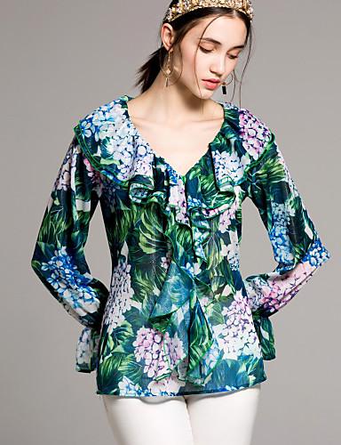 preiswerte Alles für sexy V-Ausschnitt-Damen Blumen - Grundlegend Hemd, V-Ausschnitt