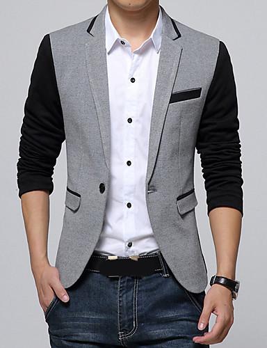 preiswerte Ausverkauf-Herrn Festtage Frühling Standard Blazer, Einfarbig V-Ausschnitt Langarm Polyester Dunkelgray / Grau