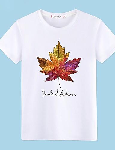 preiswerte Oberteile-Herrn Bäume / Blätter - Grundlegend Baumwolle T-shirt, Rundhalsausschnitt Druck Grau / Kurzarm / Sommer