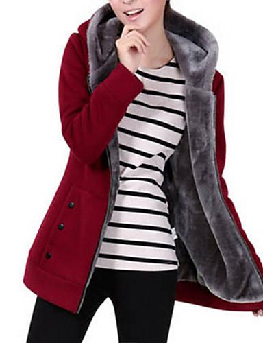 Χαμηλού Κόστους Γυναικείες Μπλούζες-Γυναικεία Βασικό hoodie σακάκι - Μονόχρωμο / Χειμώνας