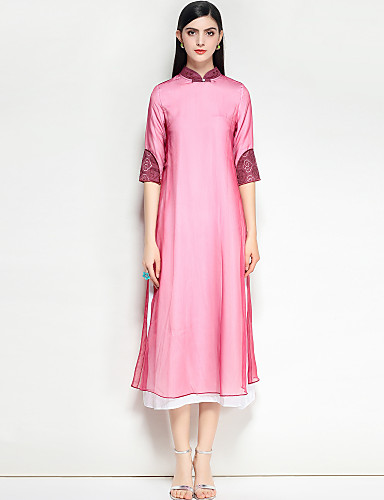 a8379a0095a3 Women s Daily   Going out Vintage   Chinoiserie Loose A Line Dress - Solid  Colored Stand Spring Blue Pink M L XL 6606193 2019 –  103.99