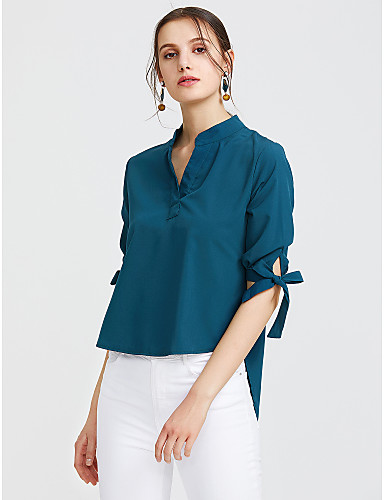 billige Skjorter til damer-Bomull V-hals Skjorte Dame - Ensfarget, Sløyfe Aktiv / Gatemote Arbeid Grønn