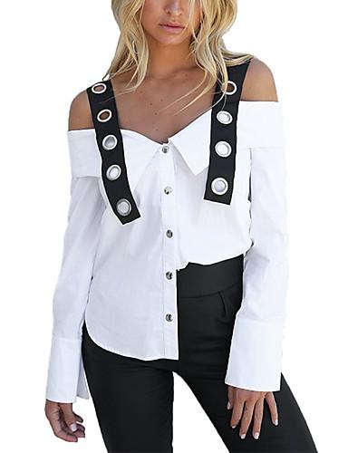 billige Skjorter til damer-Løstsittende Med stropper Skjorte Dame - Fargeblokk Hvit