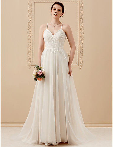 A-Line V Neck Sweep / Brush Train Tulle Lace Made-To-Measure Wedding Dresses Beading / Crystals / Lace LAN TING BRIDE® / Wedding Dress Color / Beautiful Back