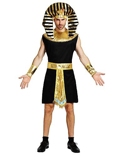 povoljno Maske i kostimi-Egipatski kostimi Kostim Uniseks Halloween Kamado roštilj Halloween Karneval Dječji dan Festival / Praznik Polyster Crn Karneval kostime Jednobojni Prugasti uzorak Halloween
