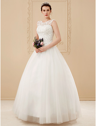 cheap Wedding Dresses-Ball Gown Scoop Neck Floor Length Beaded Lace Regular Straps Romantic Illusion Detail Wedding Dresses with Beading / Appliques 2020