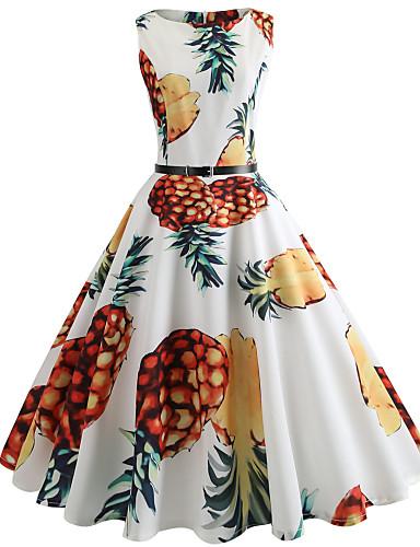 Dame Ut på byen Vintage Bomull Tynn Swing Kjole - Frukt, Trykt mønster Knelang Ananas