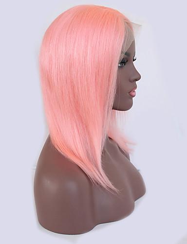 povoljno Perike s ljudskom kosom-Ljudska kosa Lace Front Perika Bob frizura Kardashian stil Brazilska kosa Ravan kroj Pink Perika 130% Gustoća kose s dječjom kosom Prirodna linija za kosu Izbijeljeni čvorovi Žene Kratko Perike s