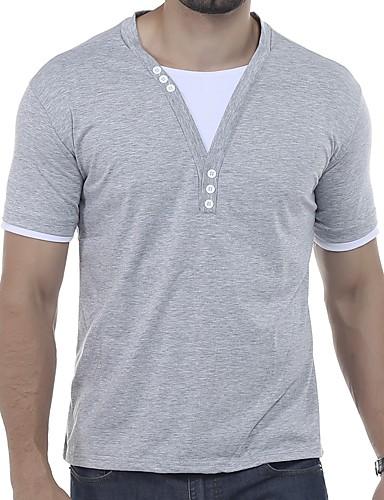 voordelige Heren T-shirts & tanktops-Heren Standaard Patchwork Grote maten - T-shirt Kleurenblok Ronde hals Slank Rood / Korte mouw / Zomer