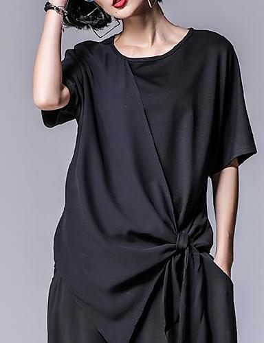 billige T-skjorter til damer-Bomull Sommerfuglermer T-skjorte Dame - Ensfarget, Flettet Svart