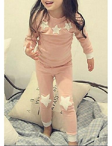 baratos Engrenagem do bebê-Infantil Para Meninas Desenho céu Manga Longa Padrão Roupa de Dormir Rosa