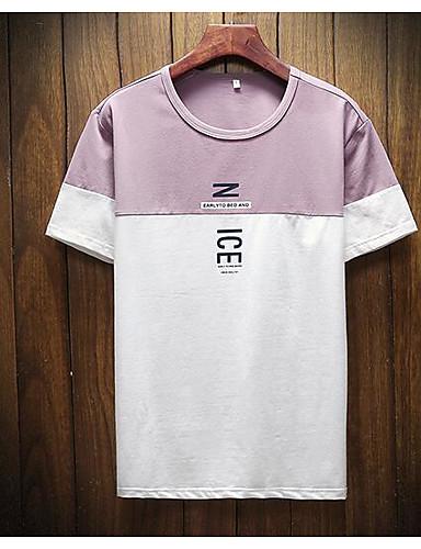574df6e89a41 Ανδρικά T-shirt Βαμβάκι   Λινό   Ακρυλικό Μονόχρωμο Στρογγυλή Λαιμόκοψη  Πλισέ   Κοντομάνικο 6622764 2019 –  14.99
