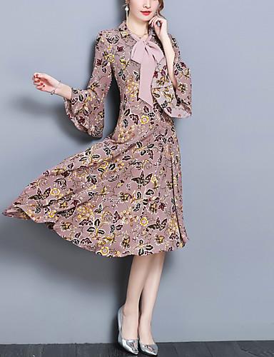 ad6976eff6f9f Kadın's Büyük Bedenler Dışarı Çıkma Sokak Şıklığı Flare Kol İnce Şifon  Elbise - Çiçekli, Fırfırlı Gömlek Yaka Asimetrik 6606243 2019 – $27.71