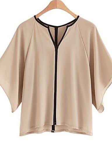billige Dametopper-Løstsittende V-hals Store størrelser Skjorte Dame - Fargeblokk Grunnleggende Svart og hvit Hvit / Vår / Sommer / flare Sleeve