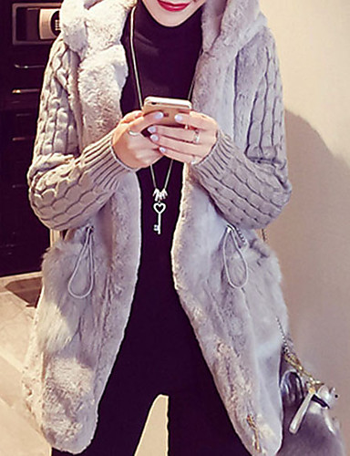 cheap Women's Furs & Leathers-Women's Winter Fur Coat Regular Solid Colored Daily Active Plus Size White Brown Gray S M L / Punk & Gothic