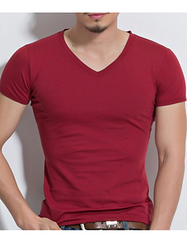 preiswerte Ausverkauf-Herrn Solide - Grundlegend T-shirt, V-Ausschnitt Grau / Kurzarm