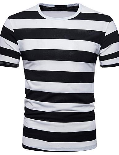 93344dff8543 Ανδρικά T-shirt Αθλητικά Κομψό στυλ street - Βαμβάκι Ριγέ   Συνδυασμός  Χρωμάτων Στρογγυλή Λαιμόκοψη Λεπτό Στάμπα   Κοντομάνικο 6630783 2019 –   12.13
