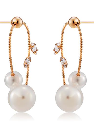 preiswerte Ohrringe Rosegold-Damen Weiß Perlen Tropfen-Ohrringe Klassisch Kugel Einfach nette Art Elegant Künstliche Perle Rose Gold überzogen Ohrringe Schmuck Weiß Für Alltag Formal 2pcs