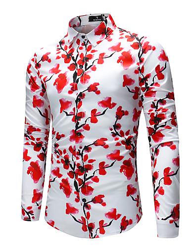 levne Pánské košile-Pánské - Geometrický Základní Košile, Tisk Rubínově červená