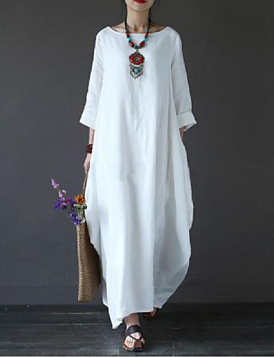 levne Maxi šaty-Dámské Větší velikosti Na běžné nošení Bavlna Volné Šaty - Jednobarevné Maxi Bílá