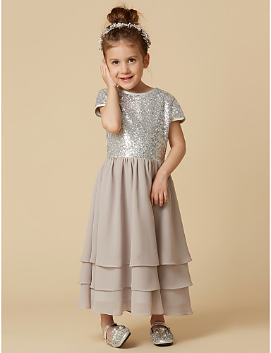 a49cd6c991d A-Line Tea Length Flower Girl Dress - Chiffon   Sequined Short Sleeve Jewel  Neck with Sequin by LAN TING BRIDE® 4282045 2019 –  59.99