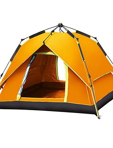 זול ומפציצה מכירת חיסול-Shamocamel® 4 איש Automatic Tent חיצוני UPF 50 עמיד למים עמיד שכבה כפולה אוטומטי Dome קמפינג אוהל 2000-3000 mm ל צעידה חוף קמפינג פּוֹלִיאֶסטֶר סרט כסף אוקספורד 215*215*145 cm