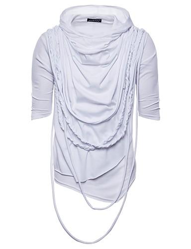 preiswerte Heißer, weißer Sommer-Herrn Solide - Grundlegend Baumwolle T-shirt, Mit Kapuze Schwarz / Sommer