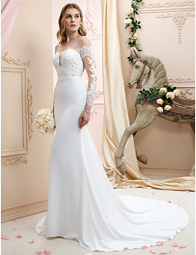 cheap Wedding Dresses-Mermaid / Trumpet Bateau Neck Court Train Chiffon / Corded Lace Long Sleeve Romantic / Sexy See-Through / Backless / Illusion Sleeve Wedding Dresses with Buttons / Appliques 2020 / Royal Style