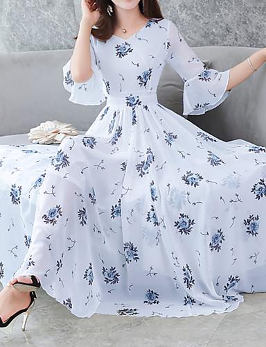 22baf8165167 Women's Floral Flare Sleeve Swing Dress - Floral Print V Neck Summer Blue  White Black XL XXL XXXL 6644973 2019 – $26.99