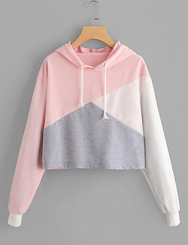 preiswerte Damen Kapuzenpullover & Sweatshirts-Damen Aktiv Lose Kapuzenshirt Einfarbig Baumwolle / Herbst