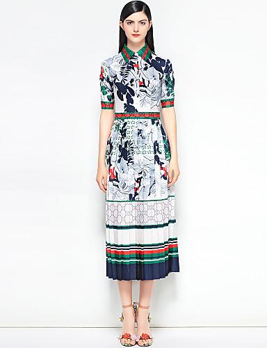 preiswerte Im Trend 2019-Damen Festtage Retro / Street Schick Baumwolle Schlank Swing Kleid Blumen / Abstrakt Midi Hemdkragen