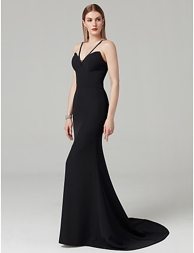 e3d35666bd9 Mermaid   Trumpet Y Neck Sweep   Brush Train Spandex Celebrity Style Formal  Evening Dress with Solid by TS Couture® 6571492 2019 –  129.99