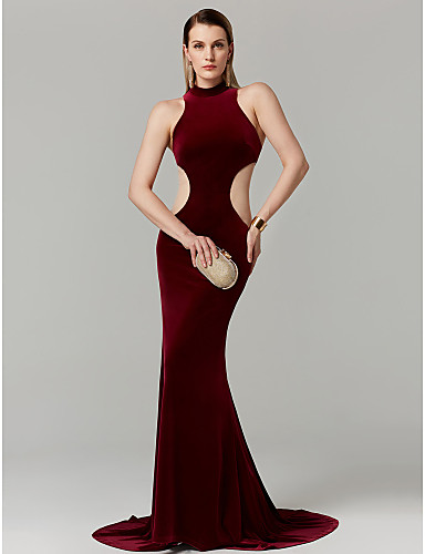 a8ac1eeb04d Mermaid   Trumpet High Neck Sweep   Brush Train Velvet Beautiful Back  Cocktail Party   Prom   Formal Evening Dress with Ruched by TS Couture®  6553510 2019 – ...