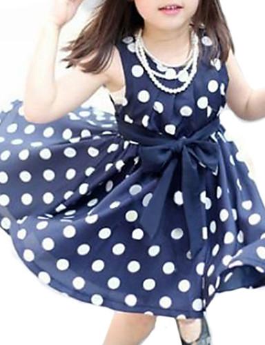 preiswerte Zurück in die Schule-Baby Mädchen Süß Alltag Punkt Ärmellos Kleid Weiß