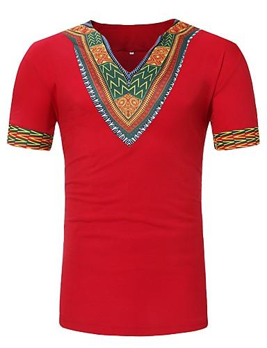 preiswerte FIFA Fußball-Weltmeisterschaft-Herrn Tribal - Grundlegend T-shirt, V-Ausschnitt Druck Rote / Kurzarm