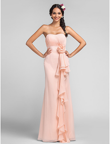 cheap Bridesmaid Dresses-Sheath / Column Sweetheart Neckline Floor Length Chiffon Bridesmaid Dress with Draping / Cascading Ruffles / Flower